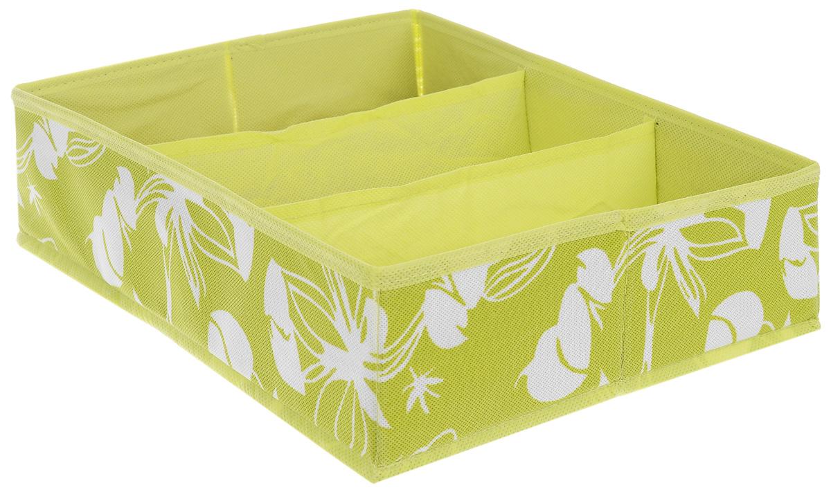 """Купить коробка-органайзер для хранения """"Hausmann"""", цвет: салатовый, белый, 27 см х 33 см х 10 см"""